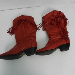 Dingo Womens Red Leather Cowgirl Boots sz 5.5